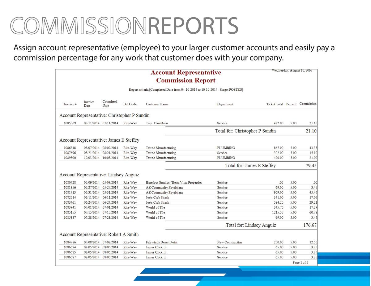 REPORTS Assign account representative  employee  to your larger customer accounts and easily pay a commission percentage f...