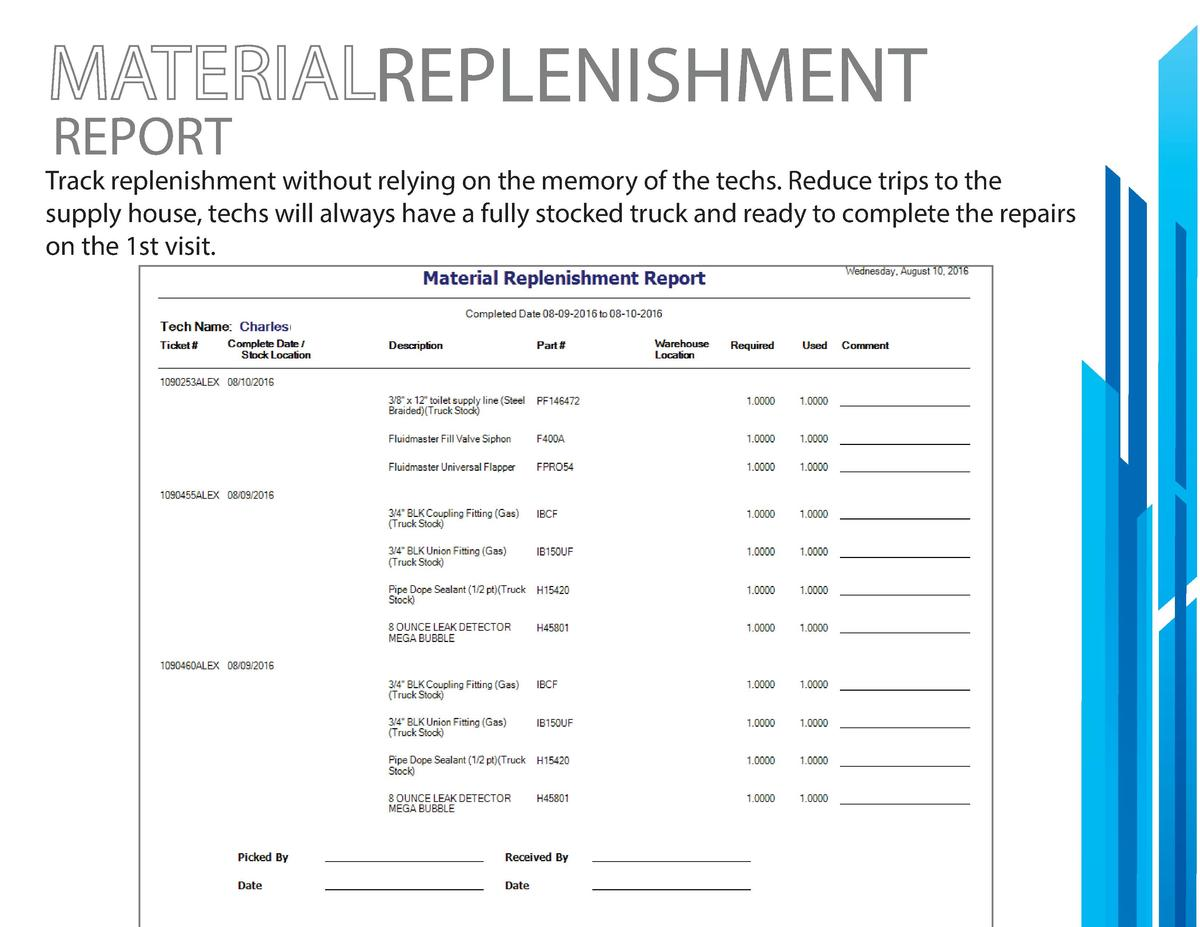 REPORT  REPLENISHMENT  Track replenishment without relying on the memory of the techs. Reduce trips to the supply house, t...