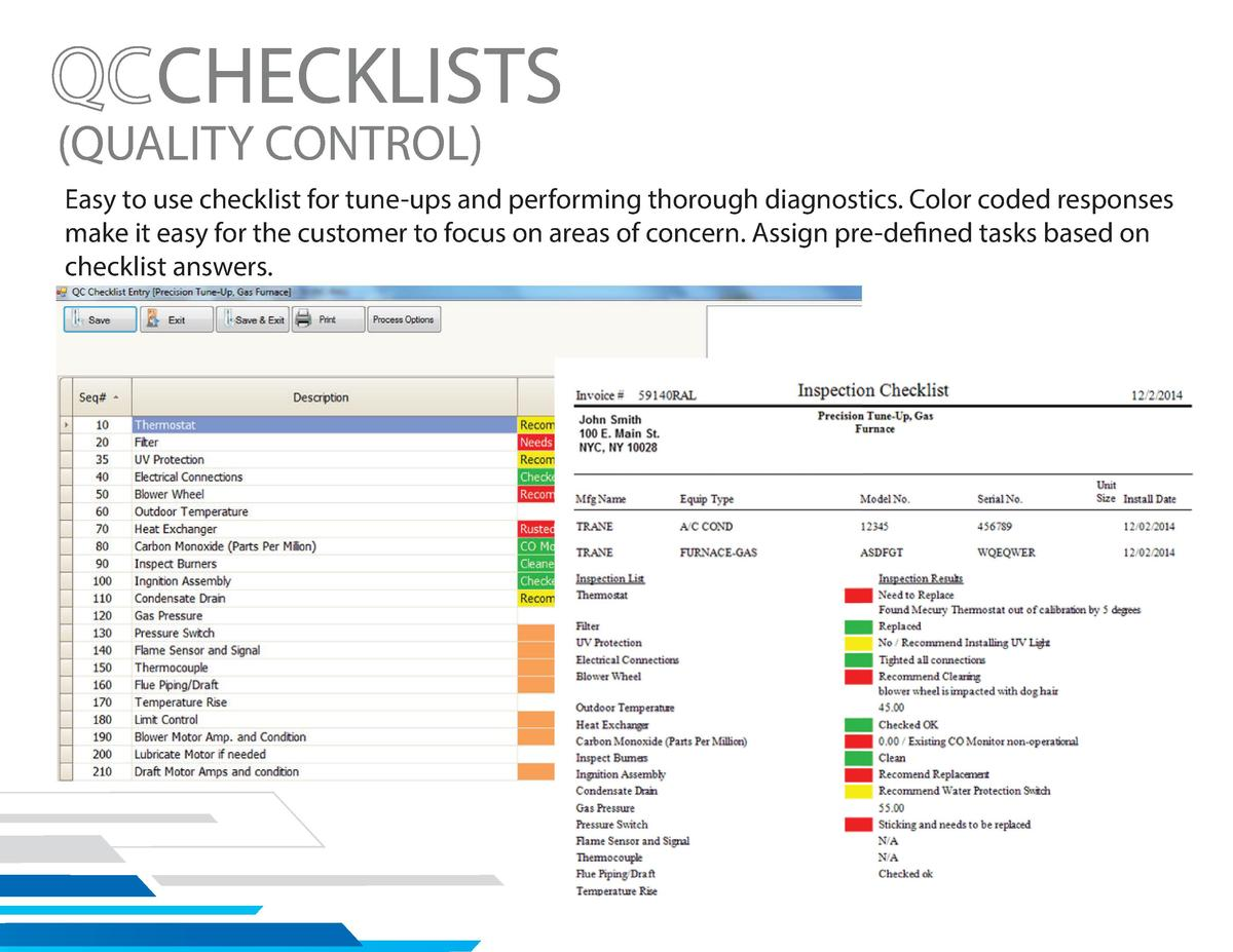 CHECKLISTS   QUALITY CONTROL   Easy to use checklist for tune-ups and performing thorough diagnostics. Color coded respons...