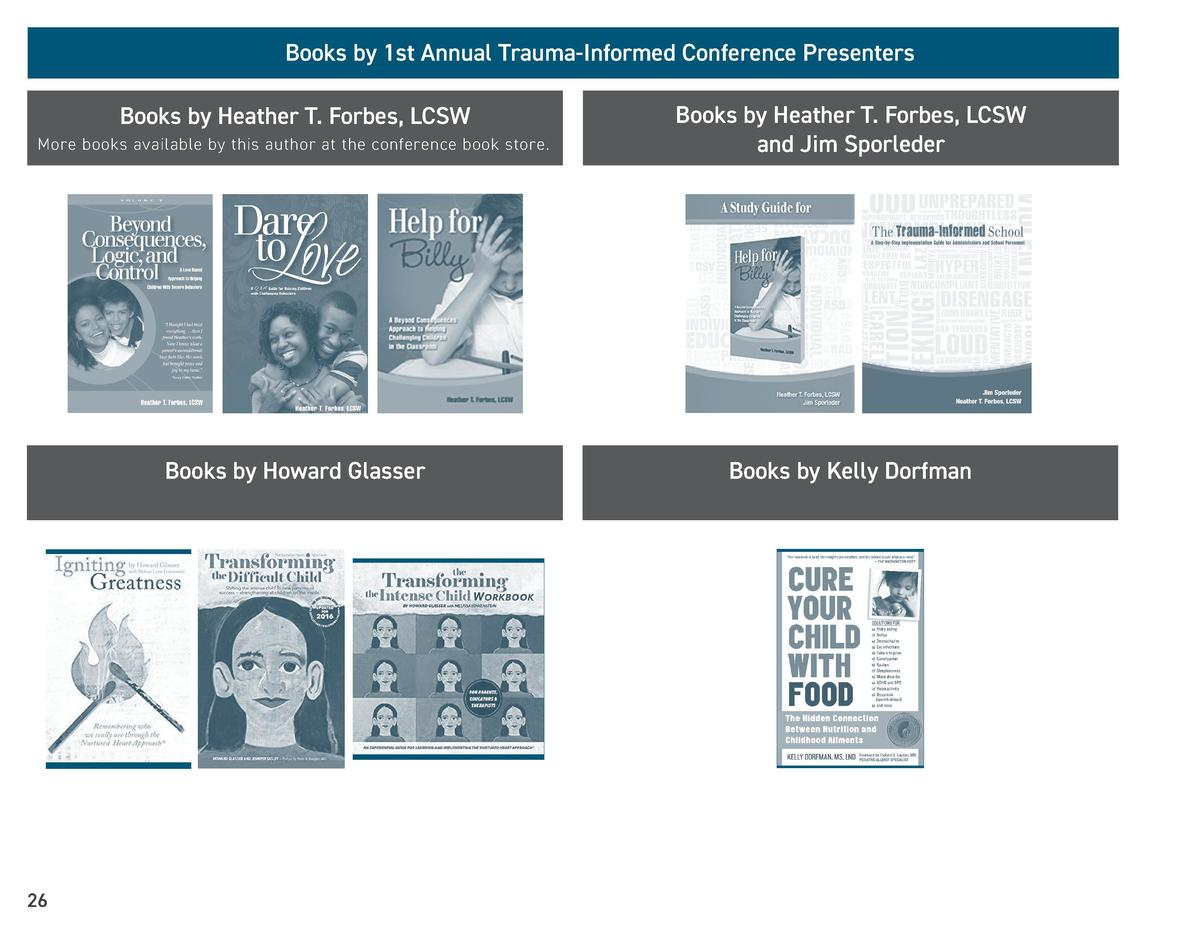 Books by 1st Annual Trauma-Informed Conference Presenters  More books available by this author at the conference book stor...