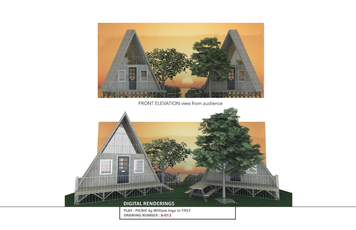 FRONT ELEVATION view from audience  DIGITAL RENDERINGS PLAY   PICNIC by William Inge in 1957 DRAWING NUMBER   A-013