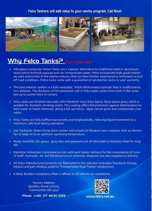 Transport tank features     Fully Baffled Tanks Aust. Standards Compliant       Corrosion Resistant Algae Free Water      ...