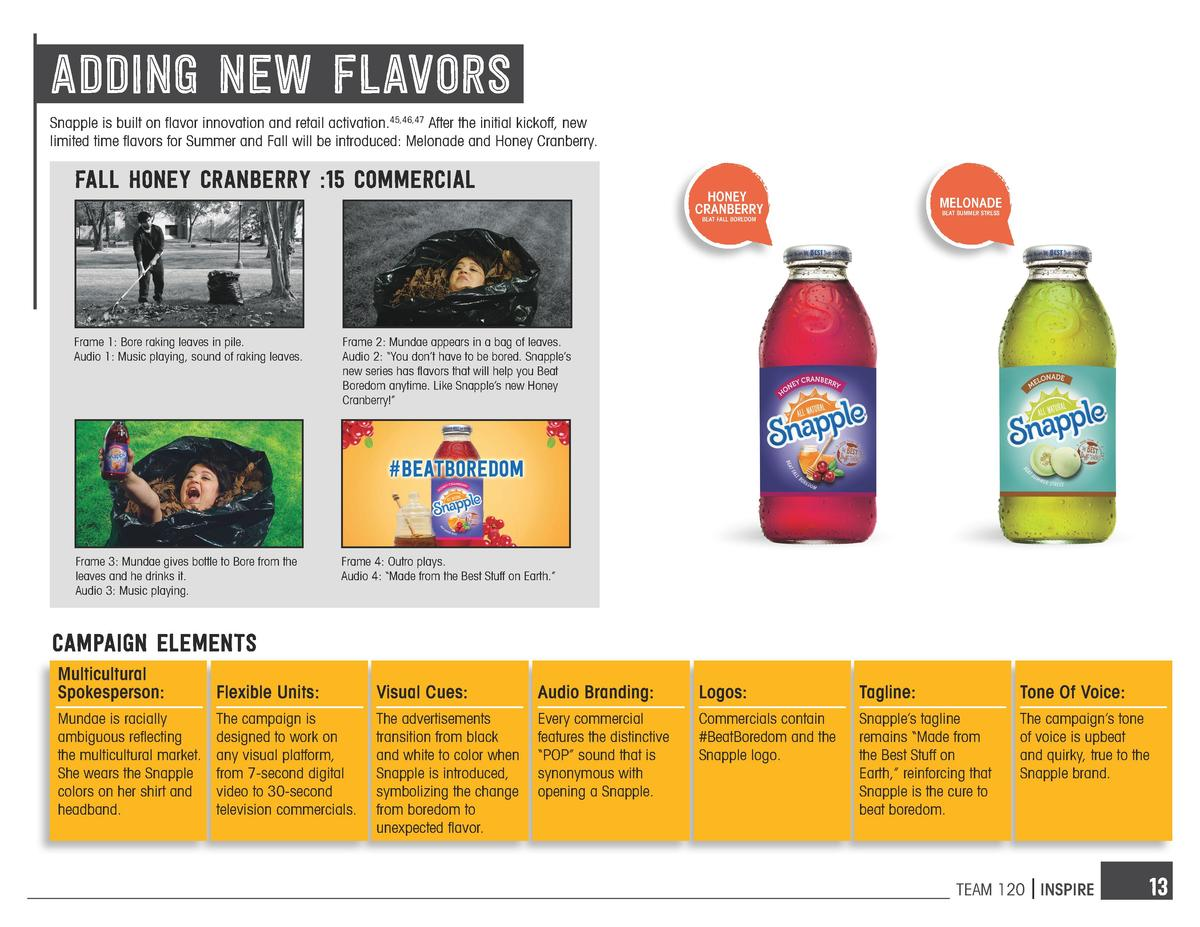 adding new flavorS Snapple is built on flavor innovation and retail activation.45,46,47 After the initial kickoff, new lim...