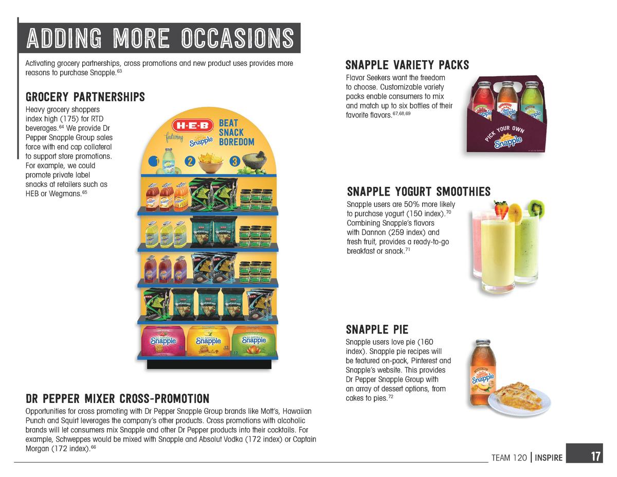 adding more occasions Activating grocery partnerships, cross promotions and new product uses provides more reasons to purc...