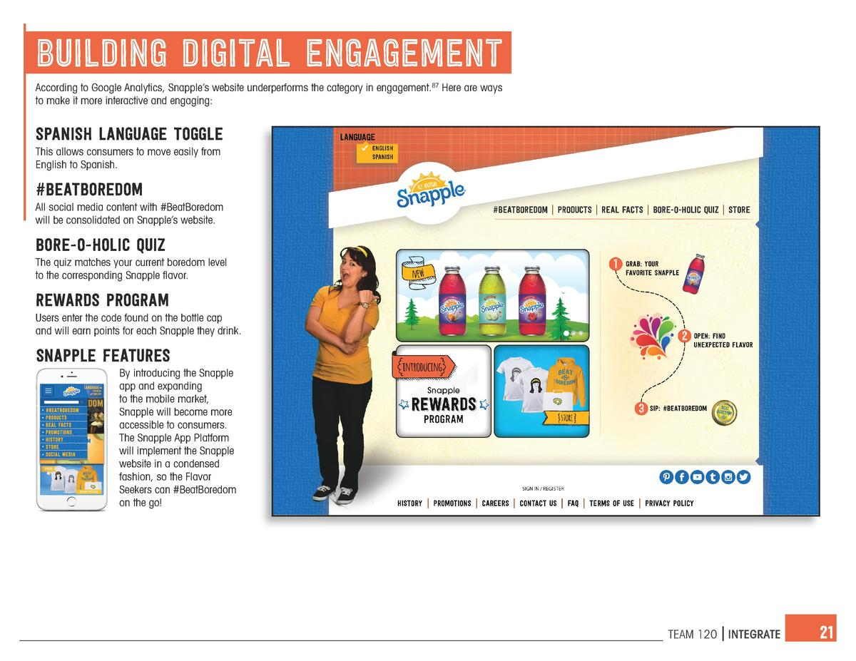 building digital engagement According to Google Analytics, Snapple   s website underperforms the category in engagement.87...