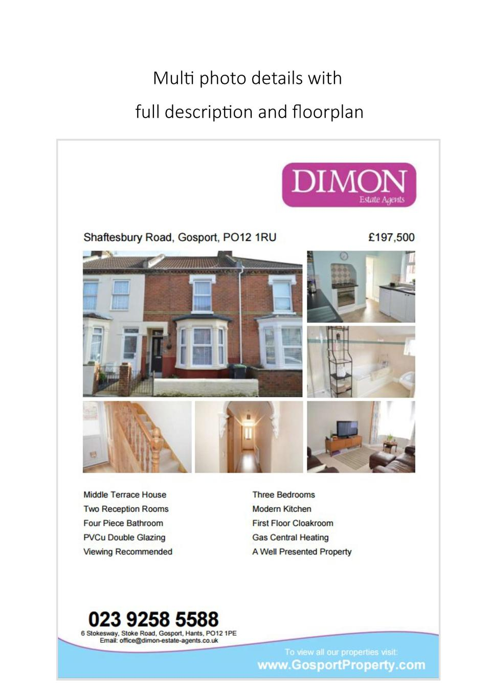 Multi photo details with full description and floorplan
