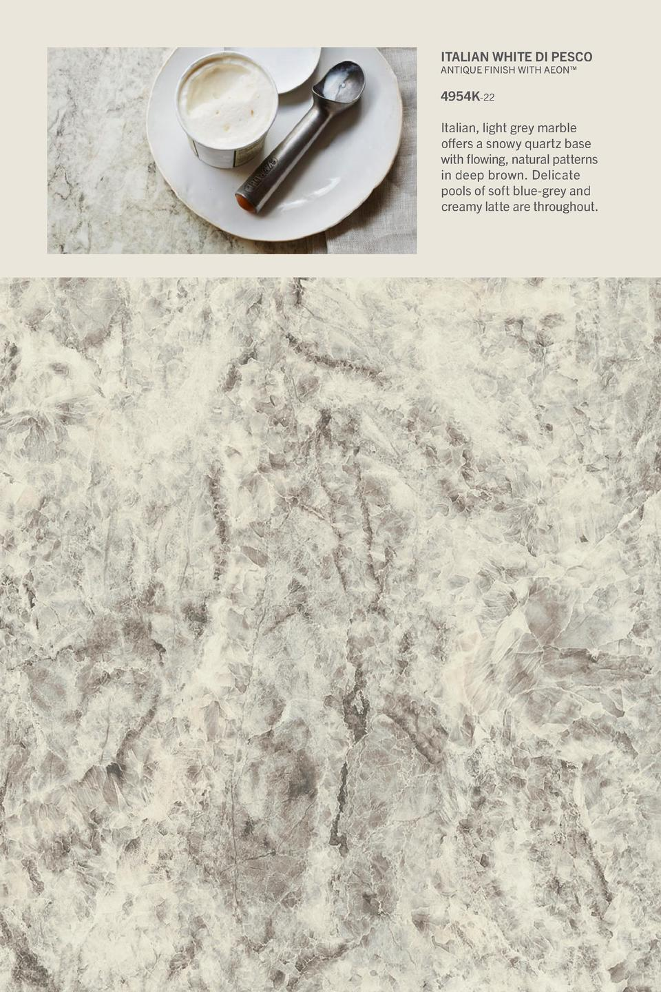 Italian White di Pesco  Antique Finish With Aeon     4954K-22 Italian, light grey marble offers a snowy quartz base with f...