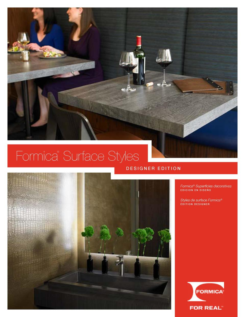 Formica Surface Styles     DESIGNER EDITION  Formica   Superficies decorativas  EDICION EN DISE  O  Styles de surface Form...