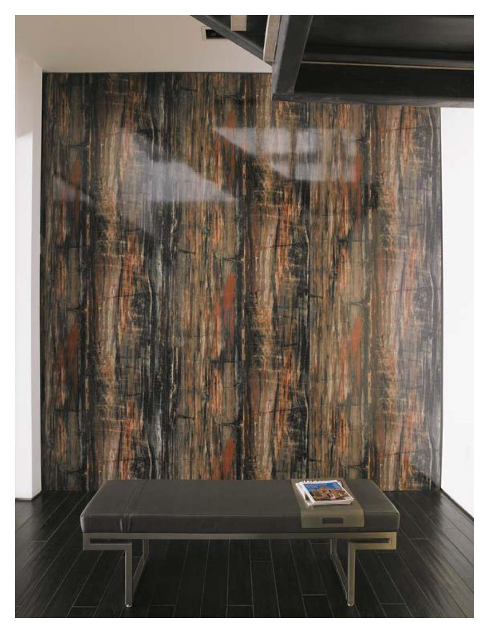 Colors  Left page   3474-90 Petrified Wood  Right page   3460-90 Calacatta Marble, 3479-58 Black Walnut Timber Colores  P ...