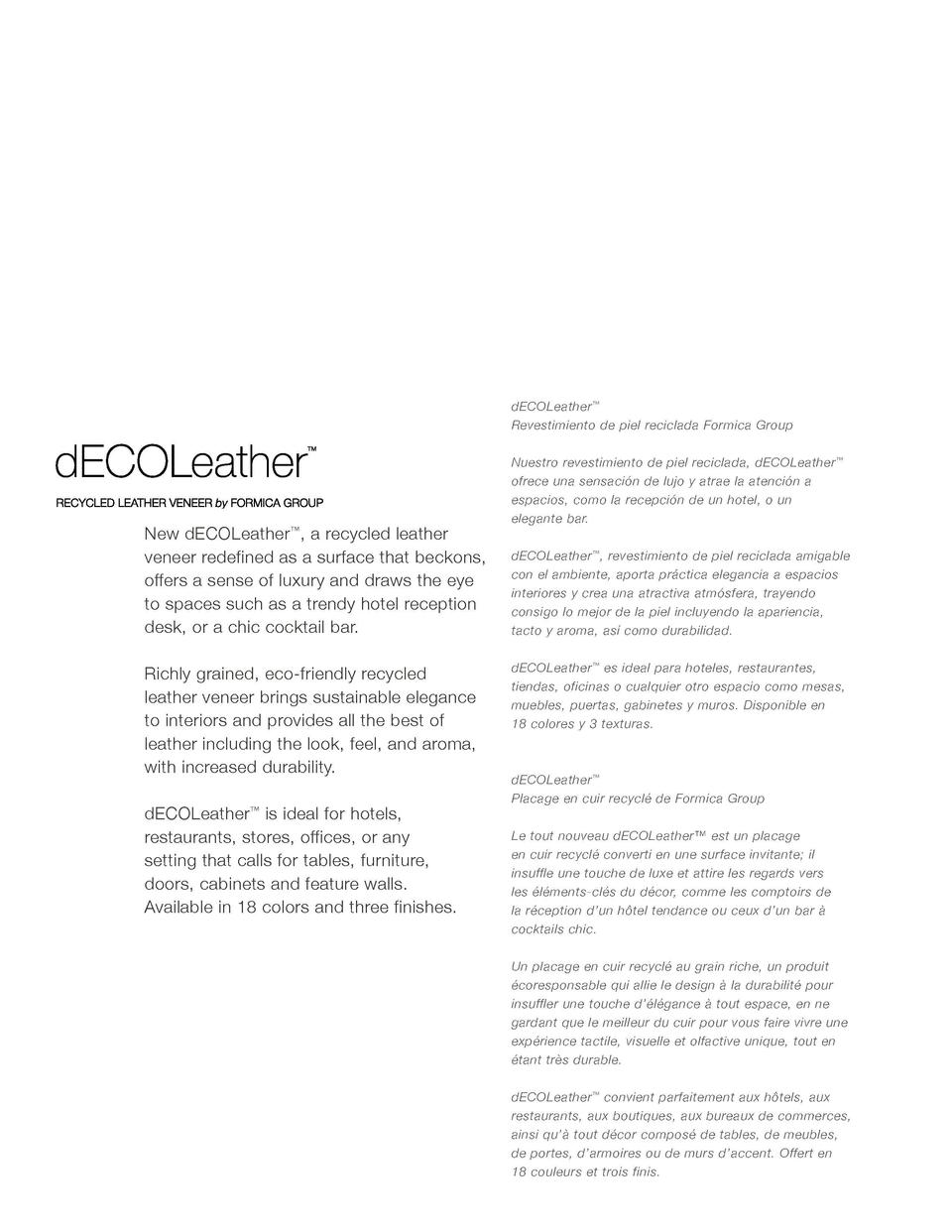 dECOLeather     Revestimiento de piel reciclada Formica Group  New dECOLeather   , a recycled leather veneer redefined as ...