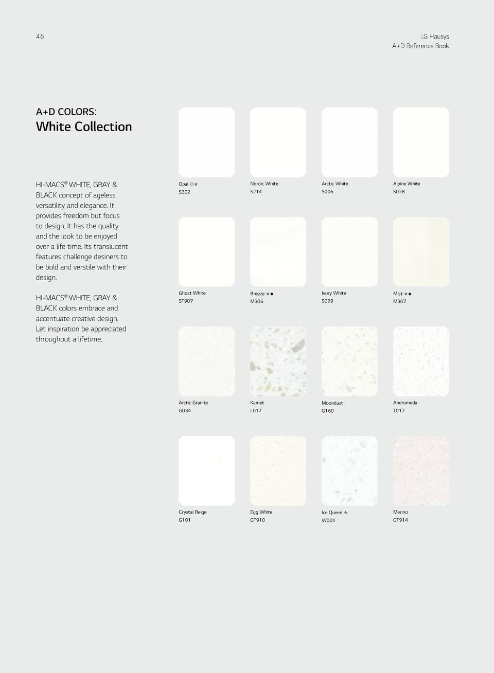 46  LG Hausys A D Reference Book  HI-MACS  A D COLORS   A D COLORS   White Collection  Gray   Black Collection  47  HI-MAC...