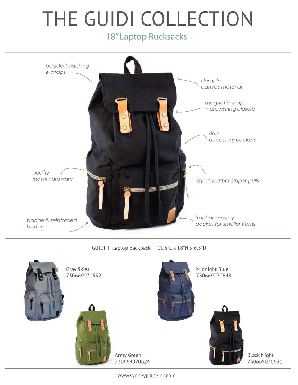 THE GUIDI COLLECTION 18    Laptop Rucksacks  padded backing   straps durable canvas material magnetic snap   drawstring cl...