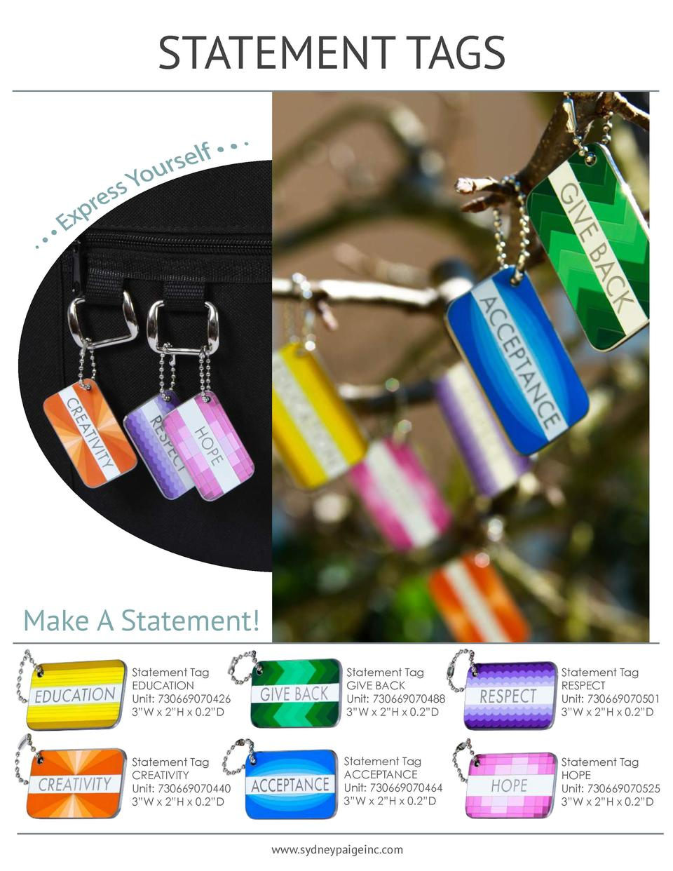 STATEMENT TAGS  Make A Statement  Statement Tag EDUCATION Unit  730669070426 3   W x 2   H x 0.2   D  Statement Tag GIVE B...