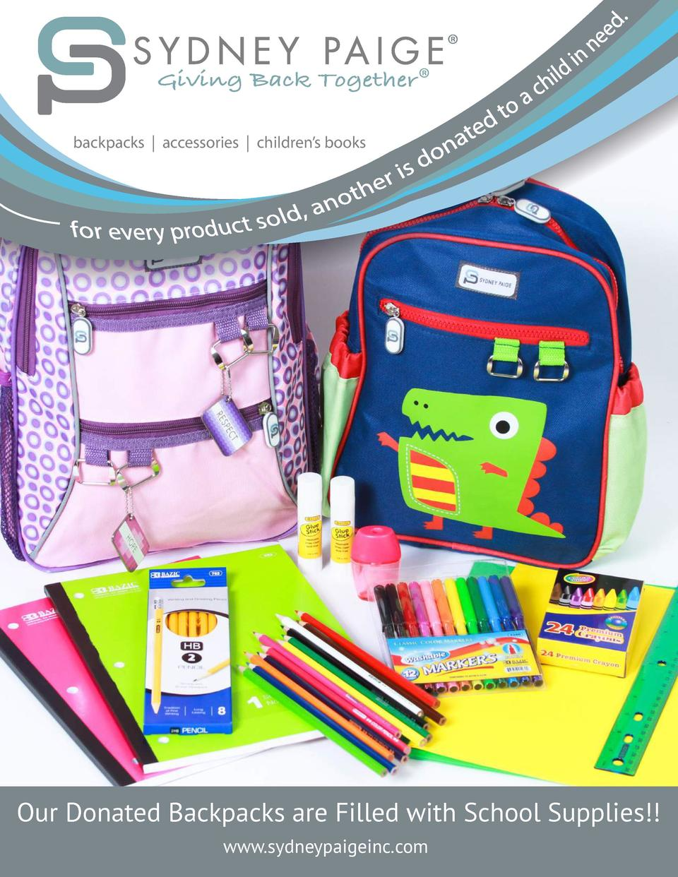 Giving Back Together         backpacks   accessories   children   s books  Our Donated Backpacks are Filled with School Su...