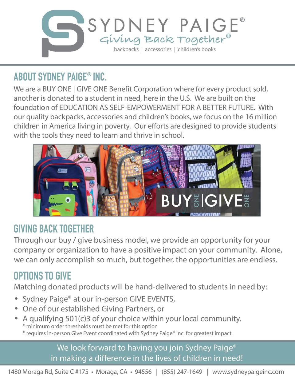 Giving Back Together         backpacks   accessories   children   s books  ABOUT SYDNEY PAIGE    INC. We are a BUY ONE   G...