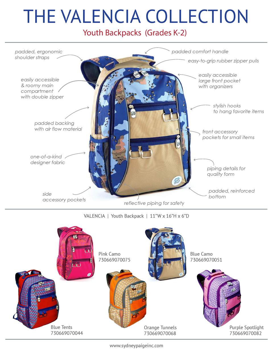 THE VALENCIA COLLECTION Youth Backpacks  Grades K-2   padded comfort handle  padded, ergonomic shoulder straps  easy-to-gr...