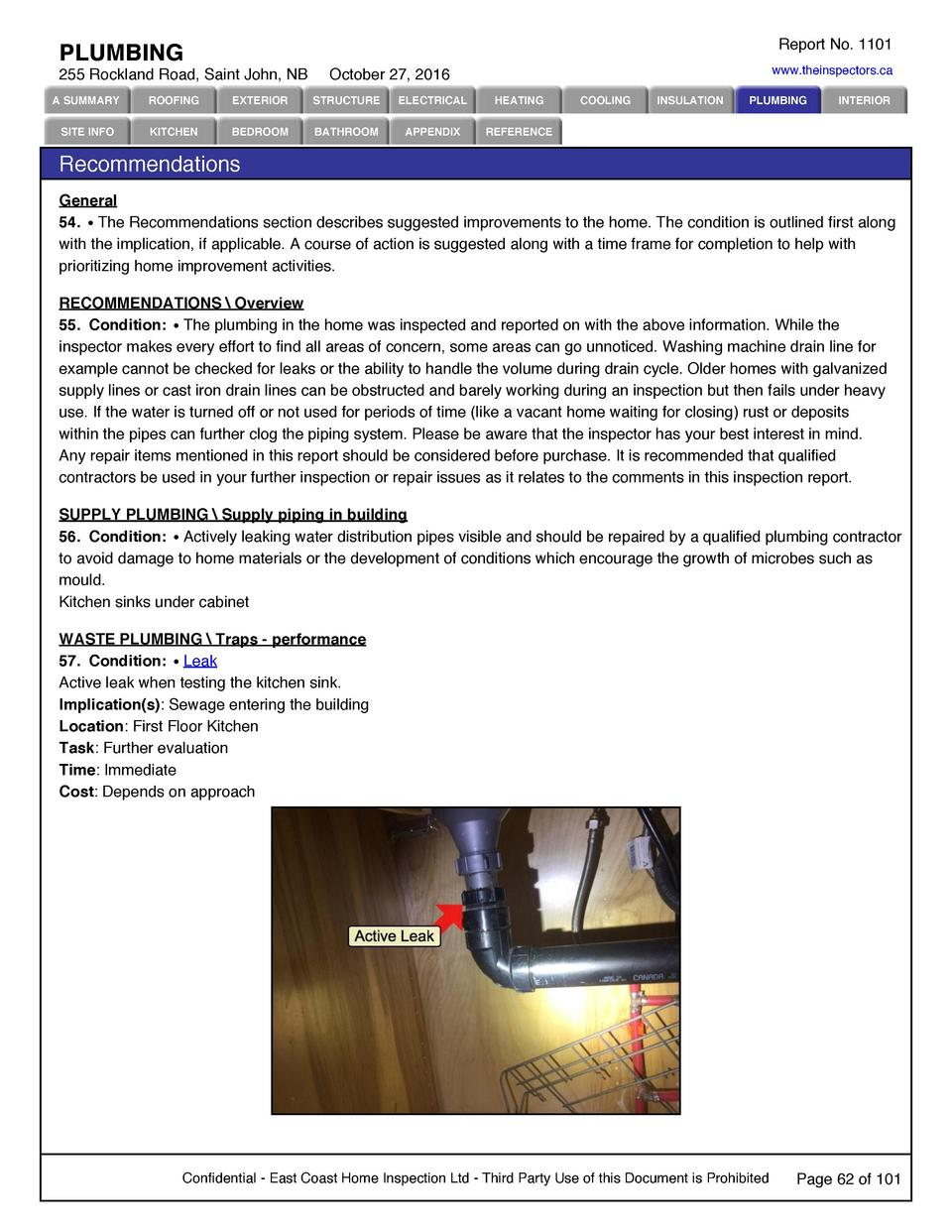 Report No. 1101  PLUMBING 255 Rockland Road, Saint John, NB  www.theinspectors.ca  October 27, 2016  A SUMMARY  ROOFING  E...