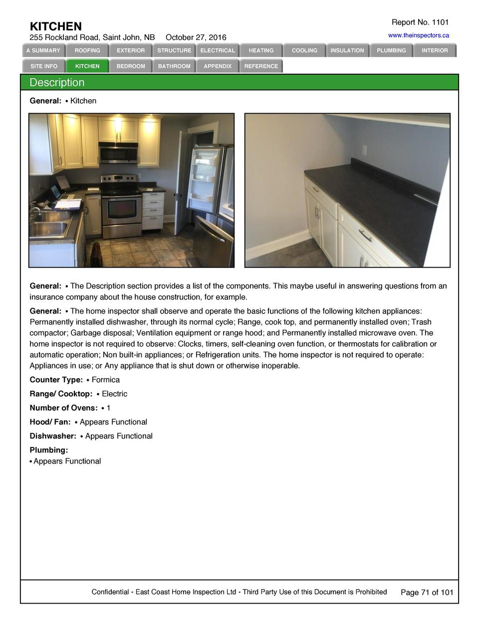 Report No. 1101  KITCHEN 255 Rockland Road, Saint John, NB  www.theinspectors.ca  October 27, 2016  A SUMMARY  ROOFING  EX...