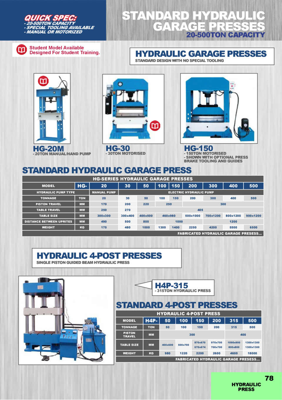 STANDARD HYDRAULIC GARAGE PRESSES  QUICK SPEC   - 20-500TON CAPACITY - SPECIAL TOOLING AVAILABLE - MANUAL OR MOTORIZED  20...