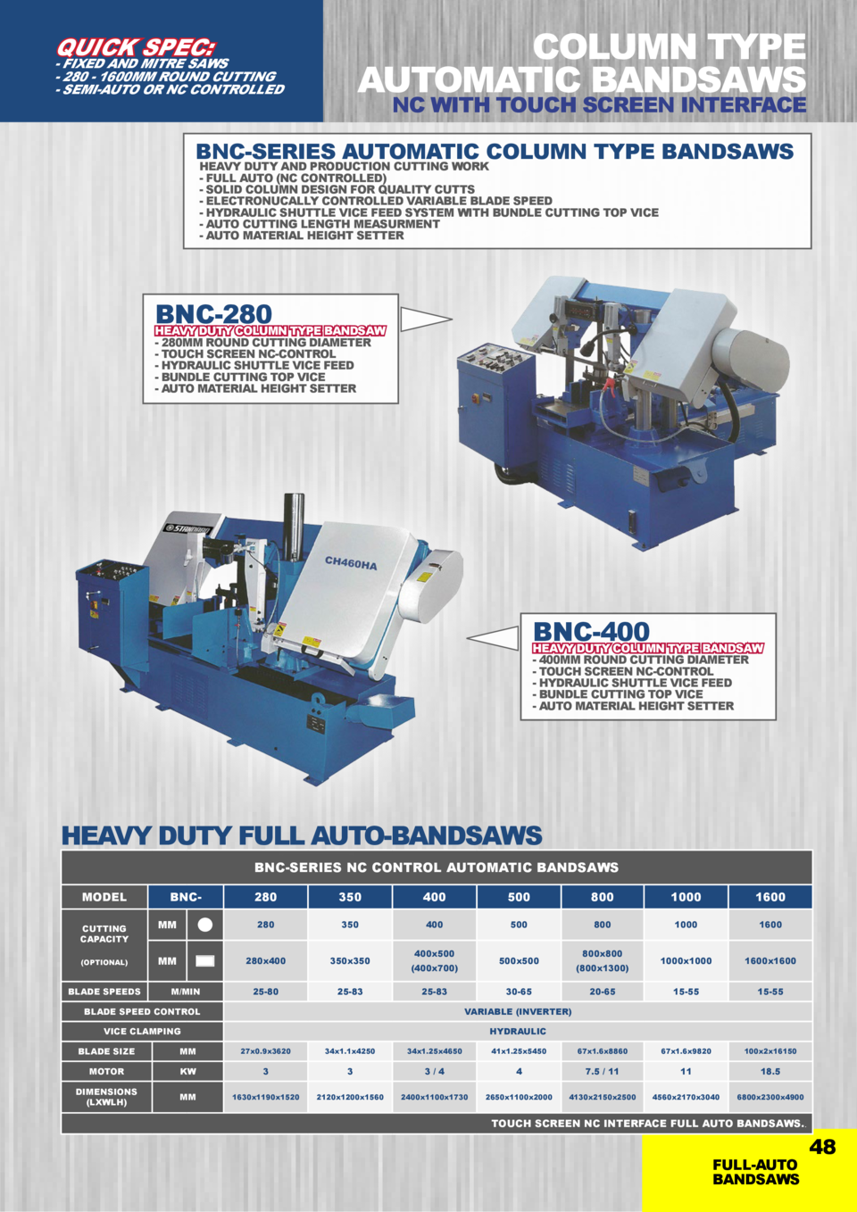 COLUMN TYPE AUTOMATIC BANDSAWS  QUICK SPEC   - FIXED AND MITRE SAWS - 280 - 1600MM ROUND CUTTING - SEMI-AUTO OR NC CONTROL...