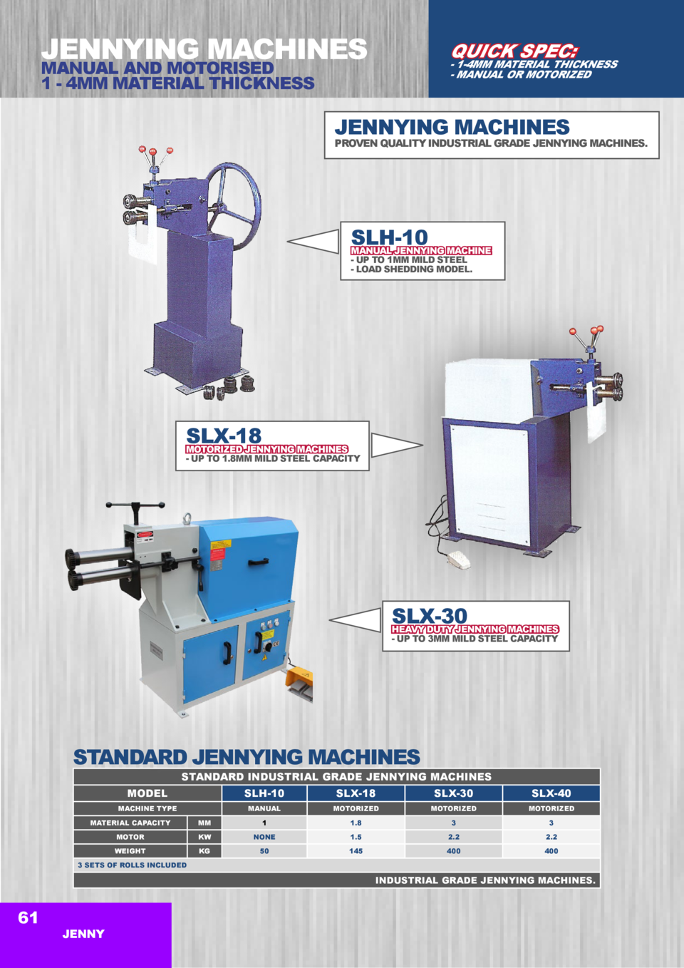 JENNYING MACHINES  QUICK SPEC   MANUAL AND MOTORISED 1 - 4MM MATERIAL THICKNESS  - 1-4MM MATERIAL THICKNESS - MANUAL OR MO...