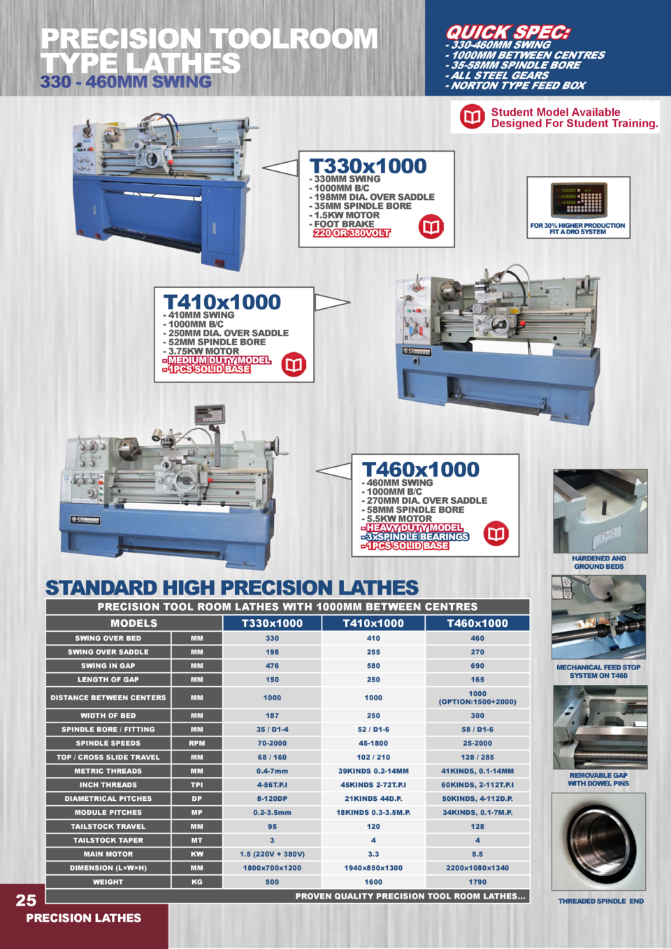 PRECISION TOOLROOM TYPE LATHES 330 - 460MM SWING  QUICK SPEC   - 330-460MM SWING - 1000MM BETWEEN CENTRES - 35-58MM SPINDL...