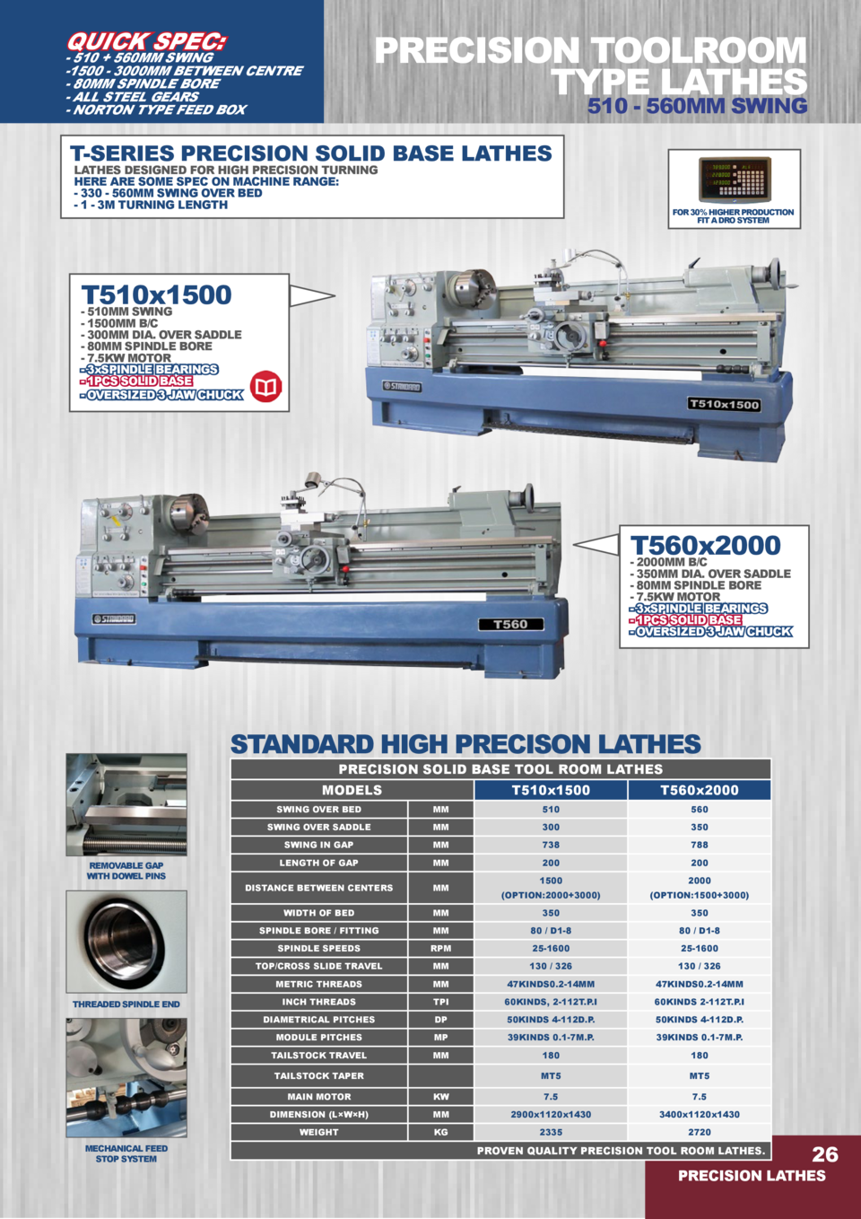 QUICK SPEC   PRECISION TOOLROOM TYPE LATHES  - 510   560MM SWING -1500 - 3000MM BETWEEN CENTRE - 80MM SPINDLE BORE - ALL S...