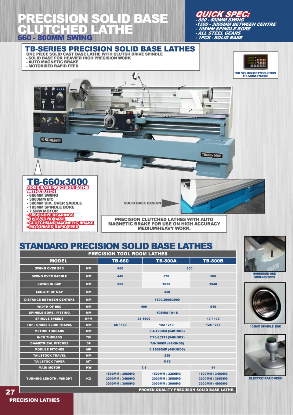 QUICK SPEC   PRECISION SOLID BASE CLUTCHED LATHE  - 660 - 800MM SWING -1500 - 3000MM BETWEEN CENTRE - 105MM SPINDLE BORE -...