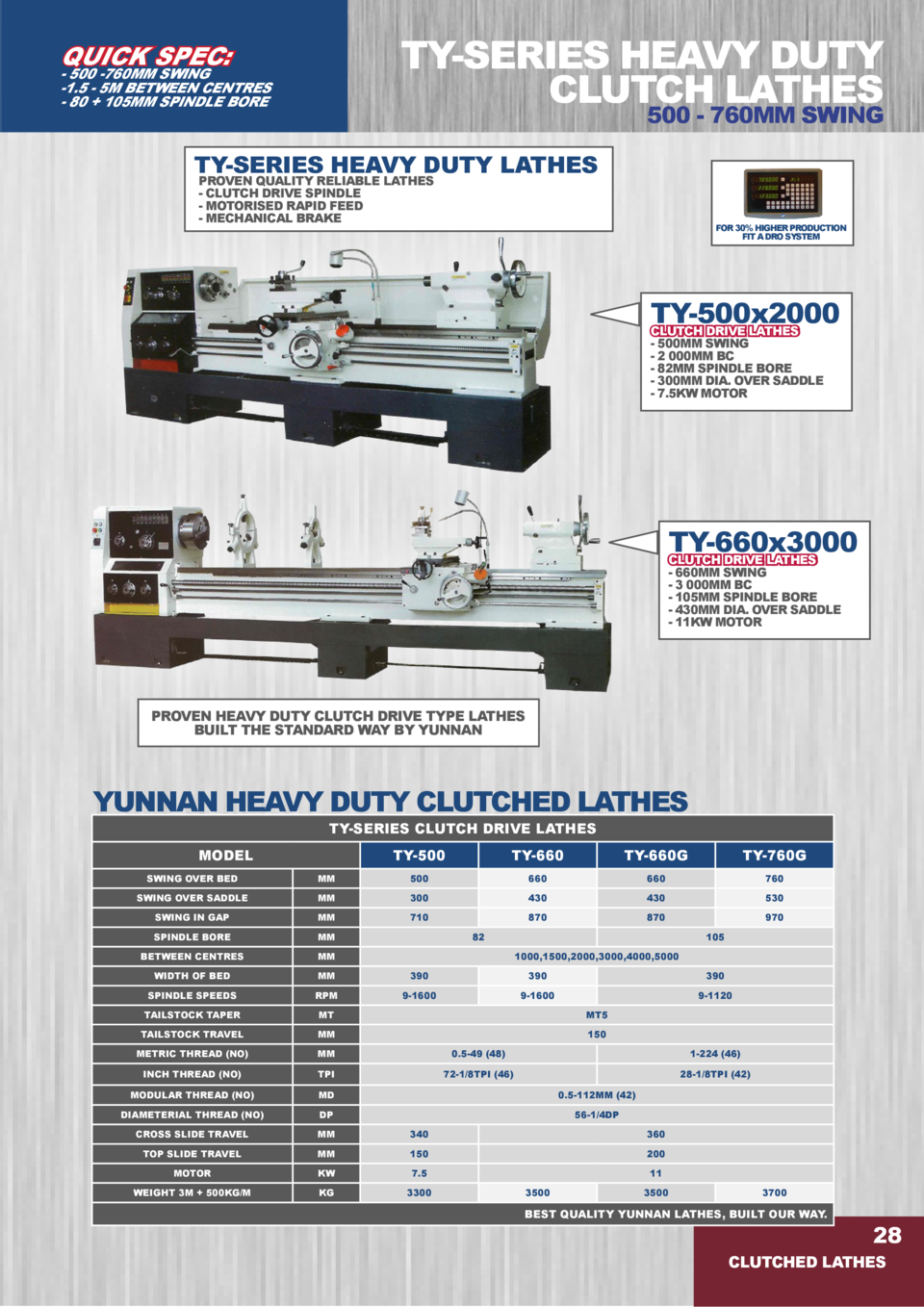 TY-SERIES HEAVY DUTY CLUTCH LATHES  QUICK SPEC   - 500 -760MM SWING -1.5 - 5M BETWEEN CENTRES - 80   105MM SPINDLE BORE  5...