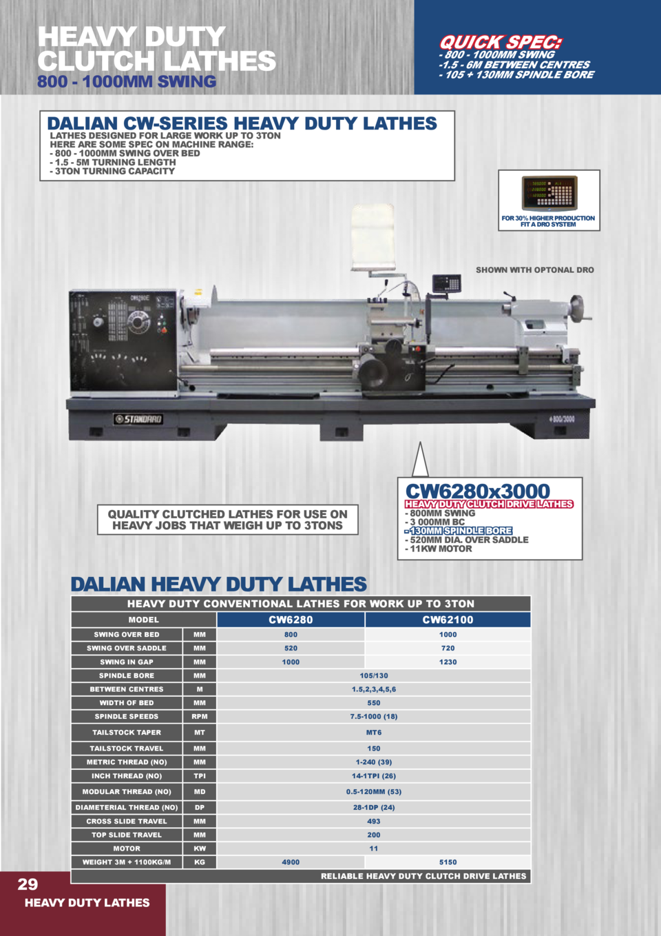 HEAVY DUTY CLUTCH LATHES  QUICK SPEC   - 800 - 1000MM SWING -1.5 - 6M BETWEEN CENTRES - 105   130MM SPINDLE BORE  800 - 10...