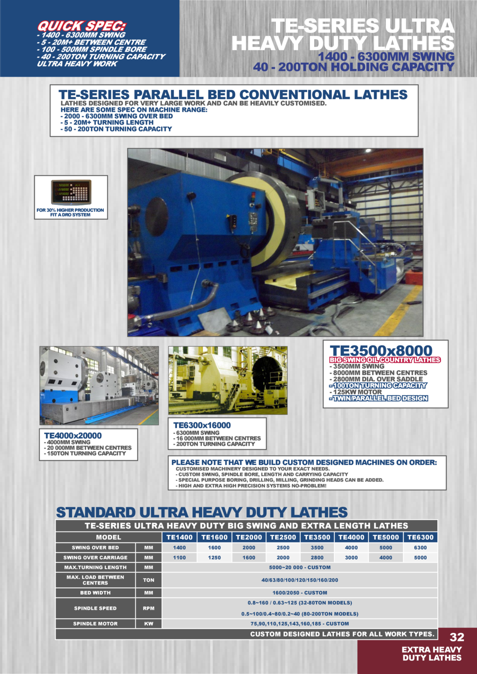 TE-SERIES ULTRA HEAVY DUTY LATHES  QUICK SPEC   - 1400 - 6300MM SWING - 5 - 20M  BETWEEN CENTRE - 100 - 500MM SPINDLE BORE...