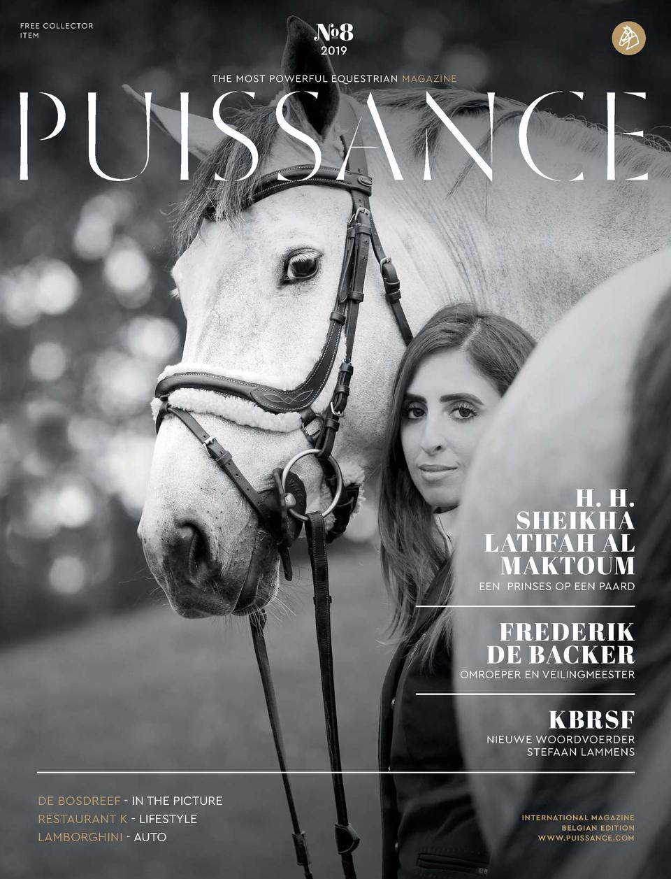 FREE COLLECTOR ITEM     8 2019  THE MOST POWERFUL EQUESTRIAN MAGAZINE  H. H. SHEIKHA LATIFAH AL MAKTOUM  EEN PRINSES OP EE...