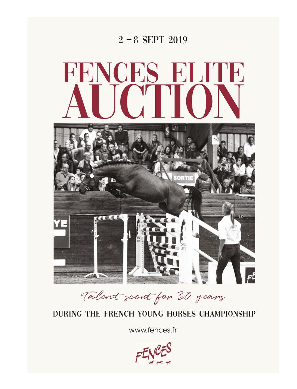 177              89A  FENCES ELITE  AUCTION  Talent scout for 30 years during the french young horses championship www.fen...
