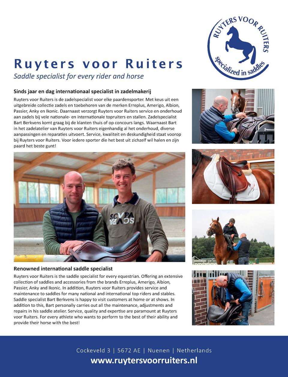 33  Ruyters voor Ruiters Saddle specialist for every rider and horse                                                      ...