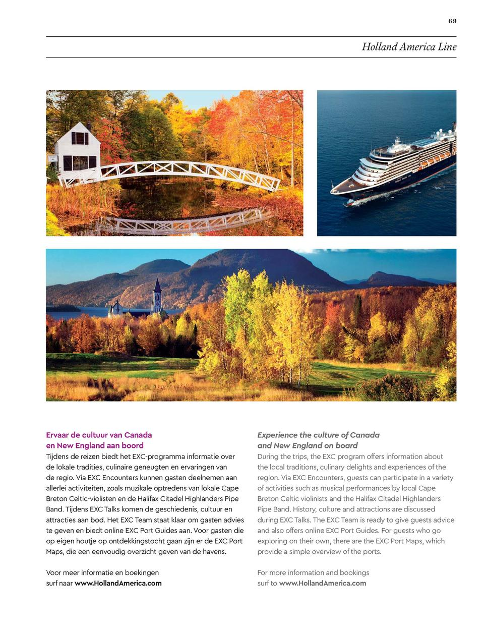 69  Holland America Line  Ervaar de cultuur van Canada en New England aan boord  Experience the culture of Canada and New ...
