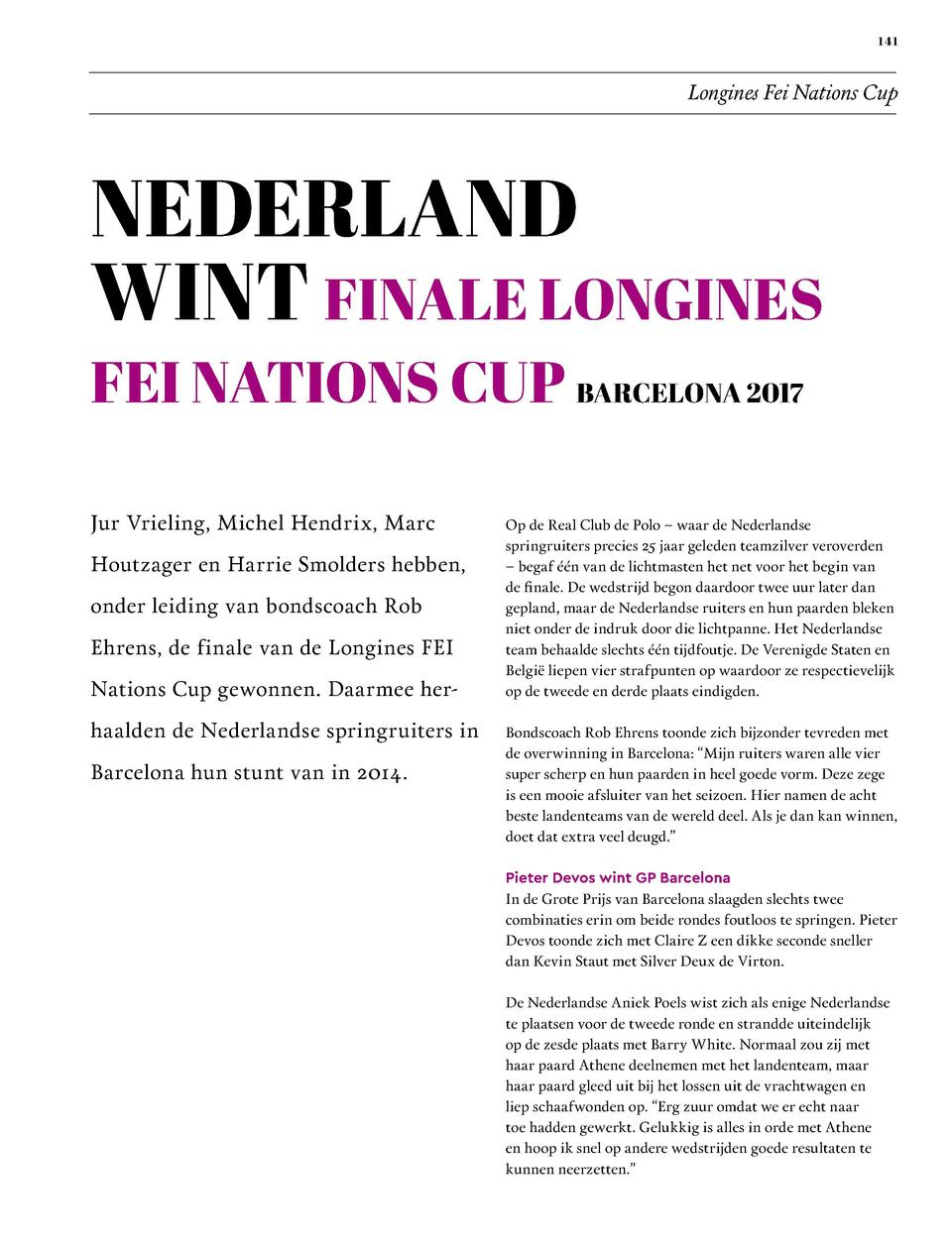 141  Longines Fei Nations Cup  NEDERLAND WINT FINALE LONGINES  FEI NATIONS CUP BARCELONA 2017 Jur Vrieling, Michel Hendrix...