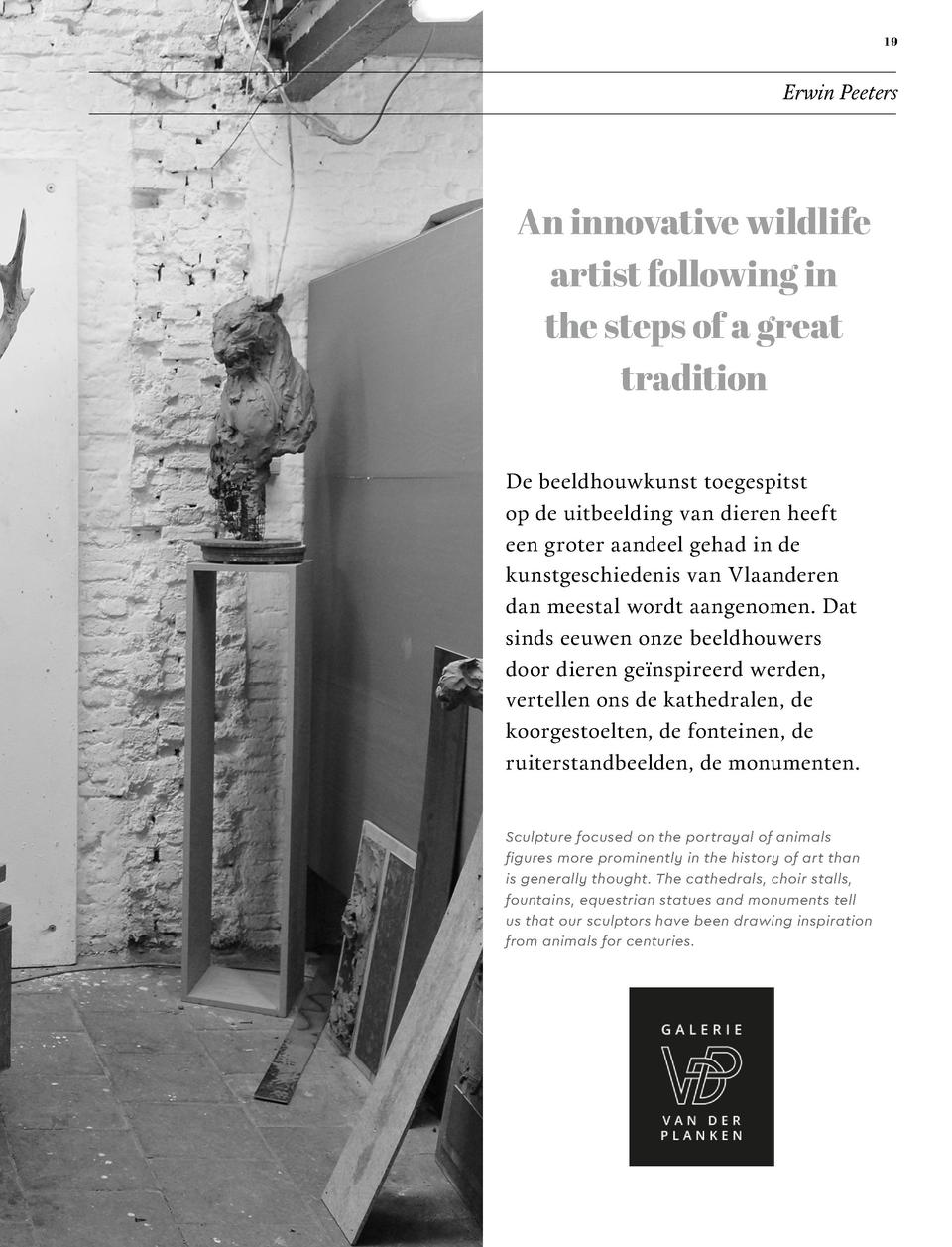 19  Erwin Peeters  An innovative wildlife artist following in the steps of a great tradition De beeldhouwkunst toegespitst...
