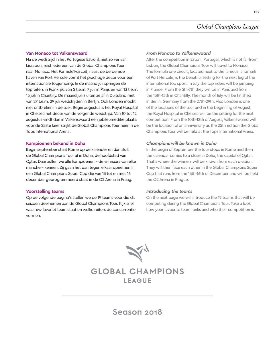 176  177  EVENTS  Global Champions League  GLOBAL CHAMPIONS LEAGUE Global Champions Tour belooft veel spektakel Text   Sti...