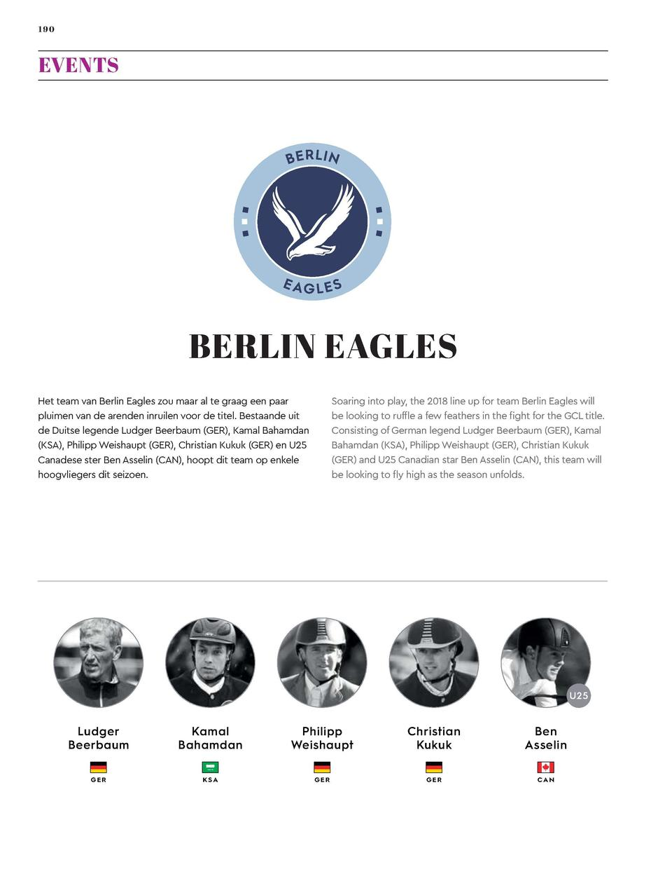190  191  EVENTS  Global Champions League  BERLIN EAGLES  LONDON KNIGHTS  Soaring into play, the 2018 line up for team Ber...
