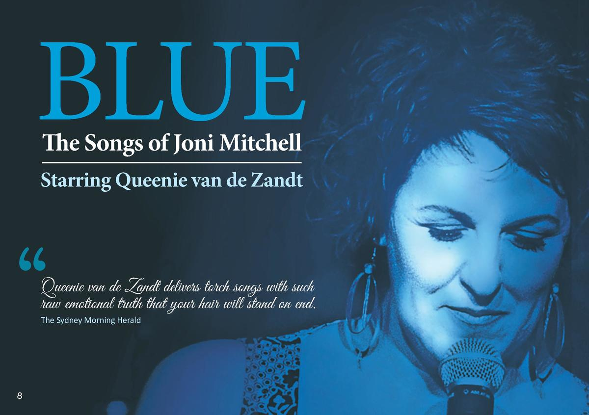 BLUE The Songs of Joni Mitchell  Starring Queenie van de Zandt       Queenie van de Zandt delivers torch songs with such r...