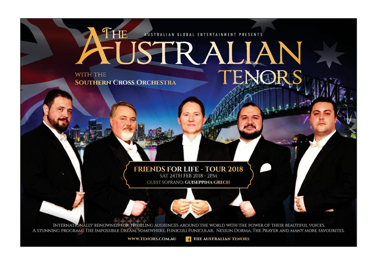 AUSTRALIAN GLOBAL ENTERTAINMENT PRESENTS  with the Southern Cross Orchestra  FRIENDS FOR LIFE - TOUR 2018 SAT 24TH FEB 201...