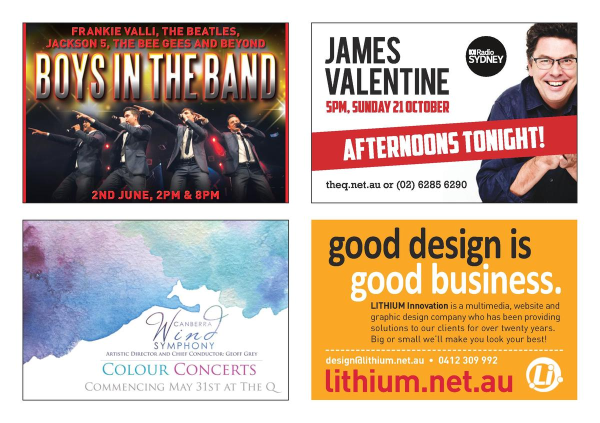FRANKIE VALLI, THE BEATLES, JACKSON 5, THE BEE GEES AND BEYOND  2ND JUNE, 2PM   8PM  good design is good business. LITHIUM...