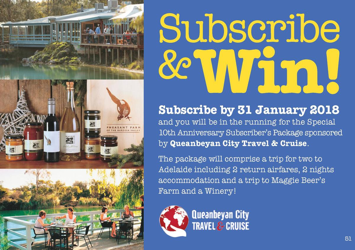 Subscribe   Win  Subscribe by 31 January 2018  and you will be in the running for the Special 10th Anniversary Subscriber ...