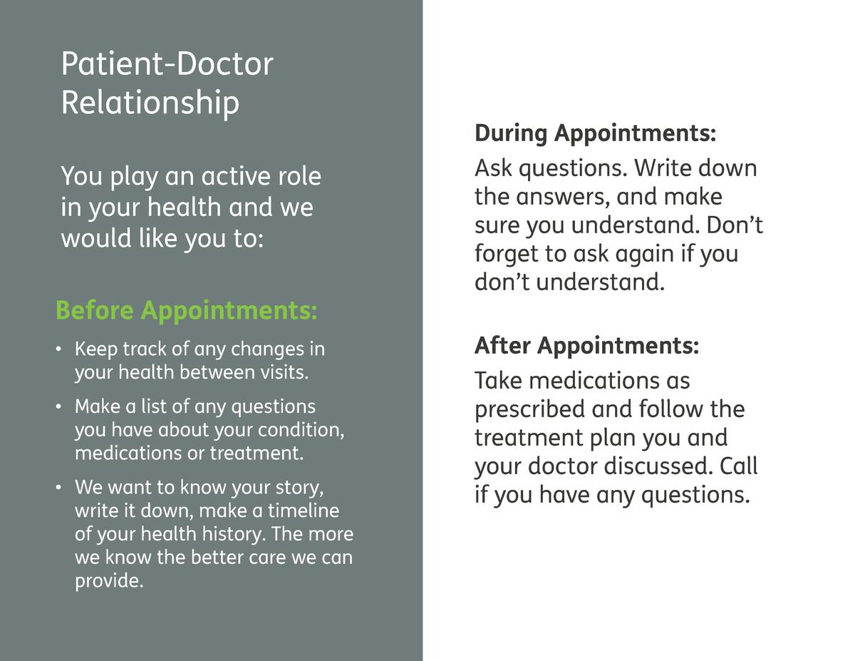 Patient-Doctor Relationship You play an active role in your health and we would like you to  Before Appointments       Kee...
