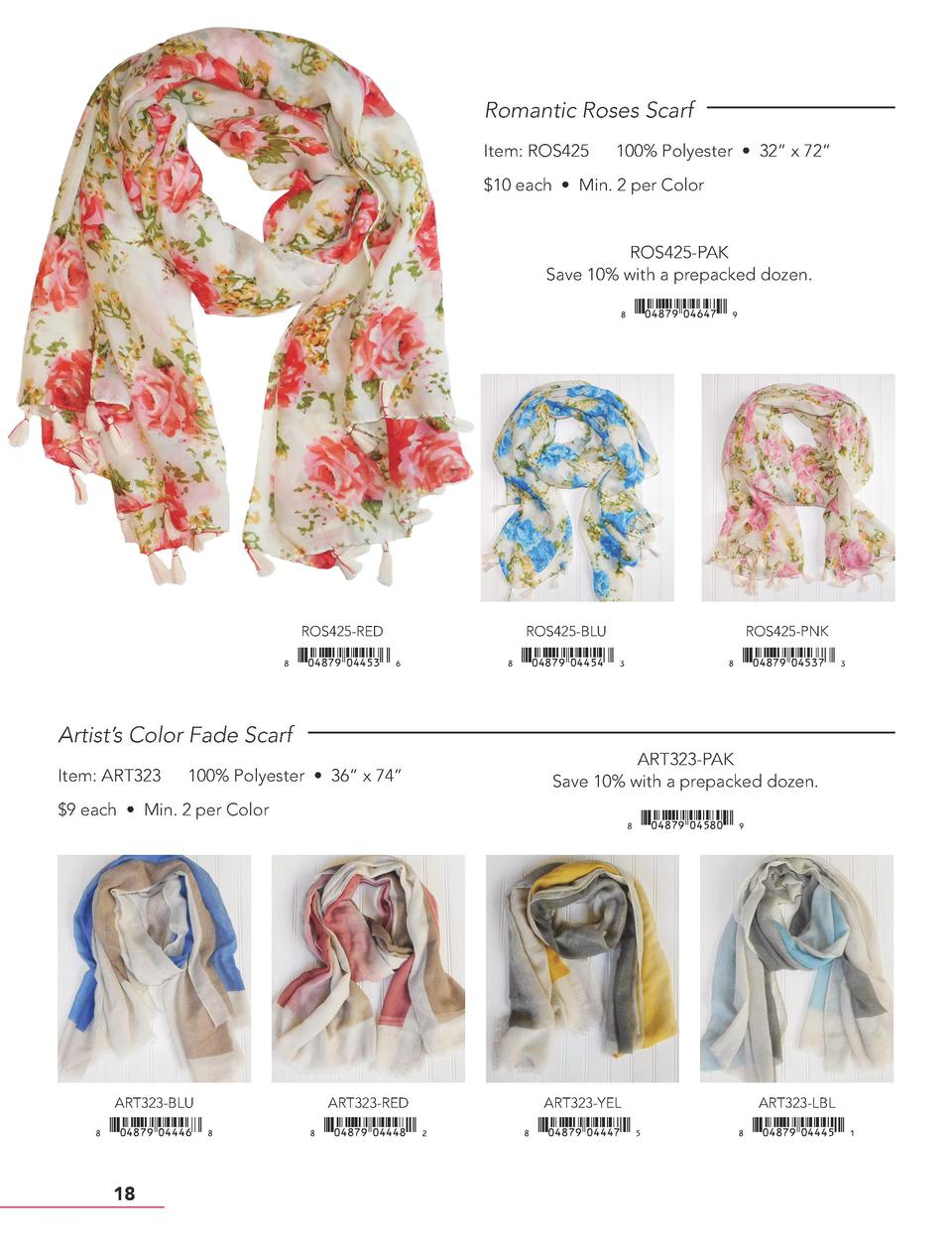 Romantic Roses Scarf Item  ROS425  100  Polyester     32    x 72      10 each     Min. 2 per Color  ROS425-PAK Save 10  wi...