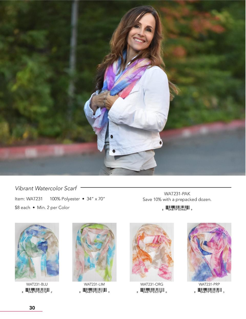 Vibrant Watercolor Scarf Item  WAT231  100  Polyester     34    x 70      8 each     Min. 2 per Color  WAT231-PAK Save 10 ...