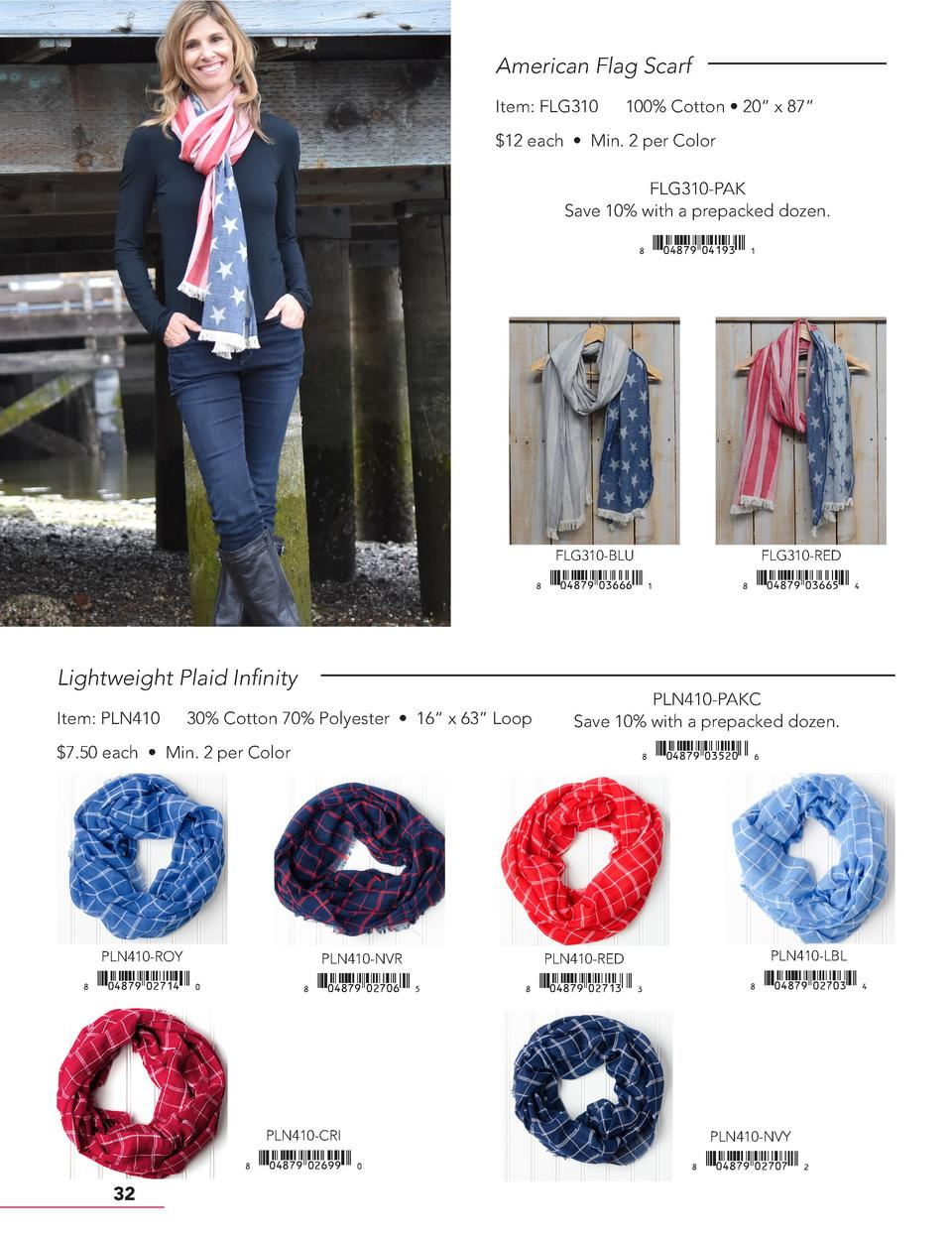 American Flag Scarf Item  FLG310  100  Cotton     20    x 87      12 each     Min. 2 per Color FLG310-PAK Save 10  with a ...