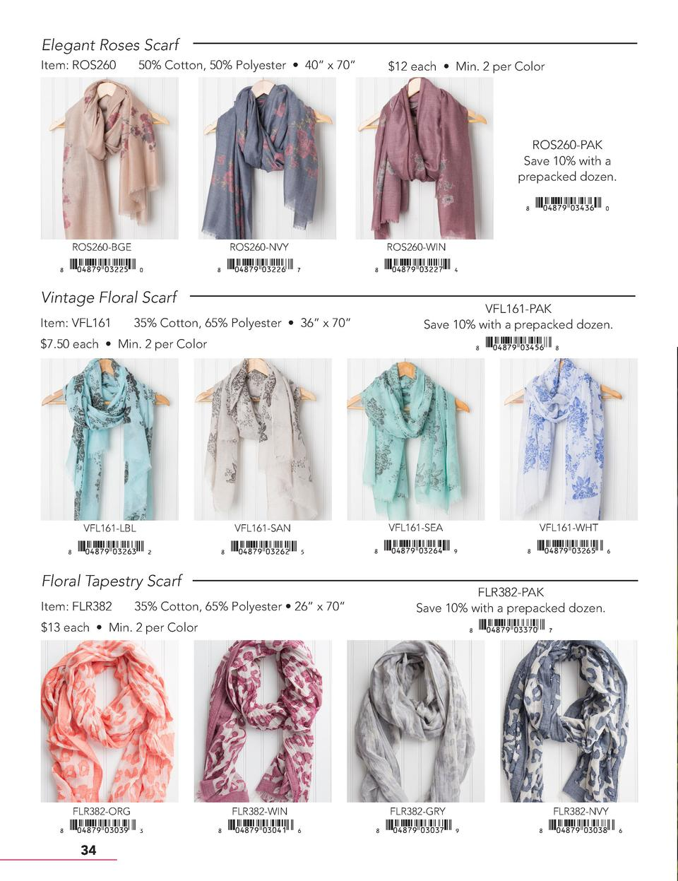 Elegant Roses Scarf Item  ROS260  50  Cotton, 50  Polyester     40    x 70      12 each     Min. 2 per Color  ROS260-PAK S...
