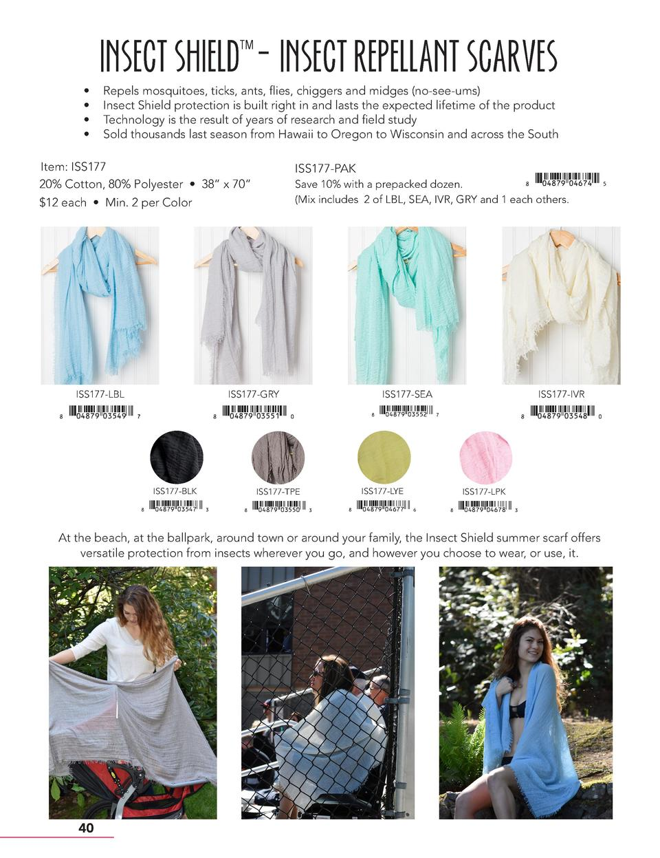 TM  INSECT SHIELD - INSECT REPELLANT SCARVES                  Repels mosquitoes, ticks, ants, flies, chiggers and midges  ...