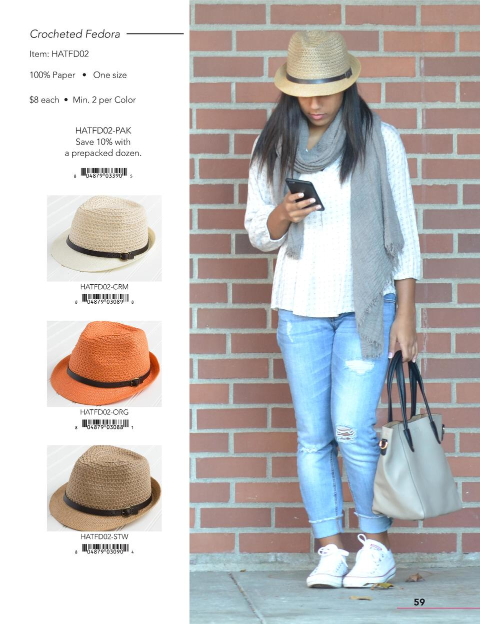 Crocheted Fedora Item  HATFD02 100  Paper     One size  8 each     Min. 2 per Color HATFD02-PAK Save 10  with a prepacked ...